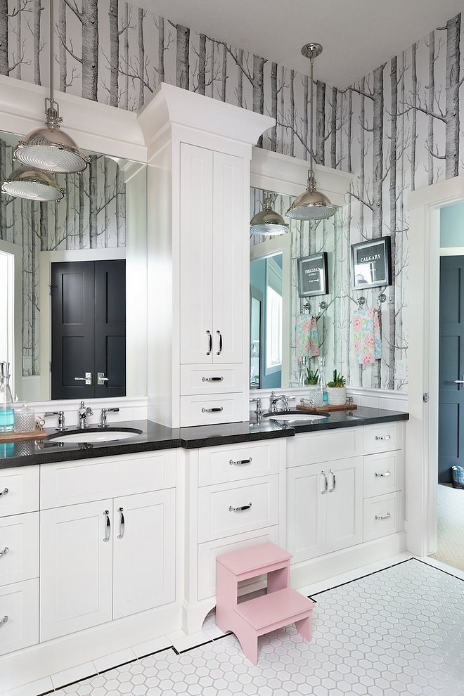 Jack and Jill bathroom The kid's bedrooms are connected with a Jack and Jill bathroom, which helps streamline bedtime for mom and dad There is a water closet and tub opposite the sink #JackandJill #bathroom