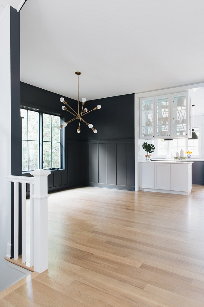 Sherwin Williams Peppercorn SW 7674 The dining room features a board and batten wainscoting Paint color is Sherwin Williams Peppercorn SW 7674 #SherwinWilliamsPeppercornSW7674 #SherwinWilliamsPeppercorn #SW7674