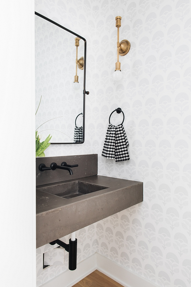 Bathroom with concrete floating vanity Bathroom with concrete floating vanity and black wall mounted faucet Bathroom with concrete floating vanity #Bathroom #concretefloatingvanity #floatingvanity #concretevanity