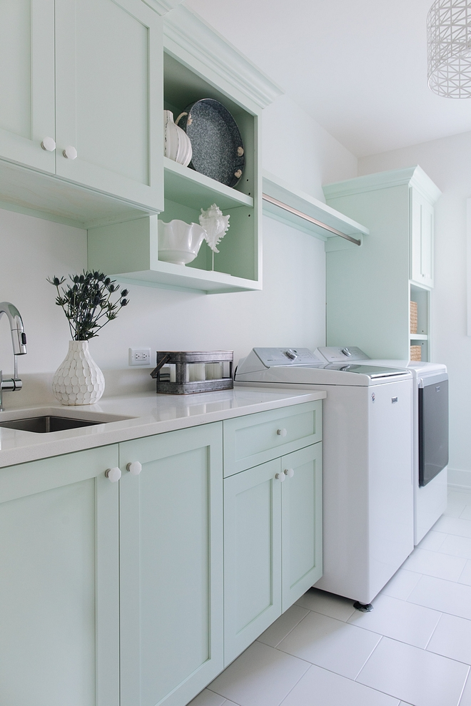 Sherwin Williams SW 6441 White Mint The minty cabinets add a serene feel to the space Cabinet color is Sherwin William Sherwin Williams SW 6441 White Mint #SherwinWilliamsSW6441WhiteMintsSW6441
