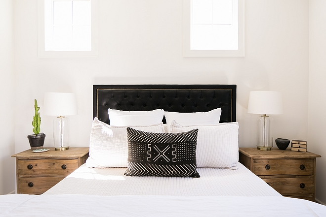 Black and white bedroom with white bedding