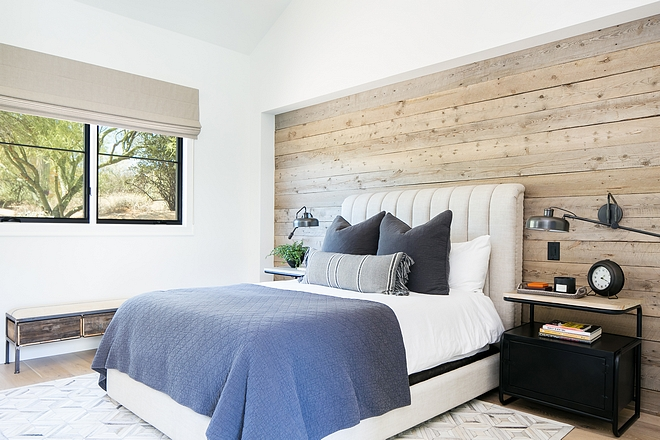 Flat Swiss Coffee by Dunn Edwards bedroom with reclaimed wood shiplap Flat Swiss Coffee by Dunn Edwards #SwissCoffeeDunnEdwards