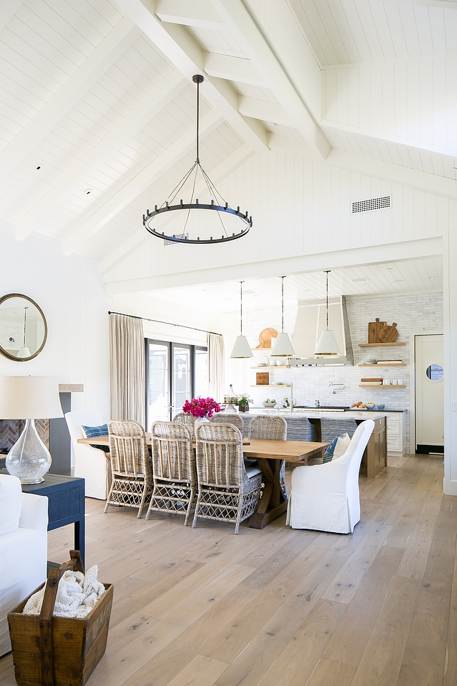 Modern Farmhouse Kitchen and dining room with painted plank and beam ceiling paint color Benjamin Moore White Dove #modernfarmhosuekitchen #paintedbeam #paintedplankceiling #beampaintcolor #BenjaminMooreWhiteDove