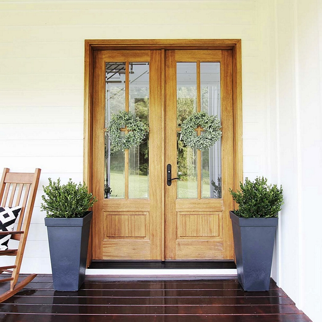 Front Door The front door and porch door are mahogany with a clear coat of polyurethane Double Doors Front door stain color #frontdoor #doorstaincolor #doorstain #mahoganydoor