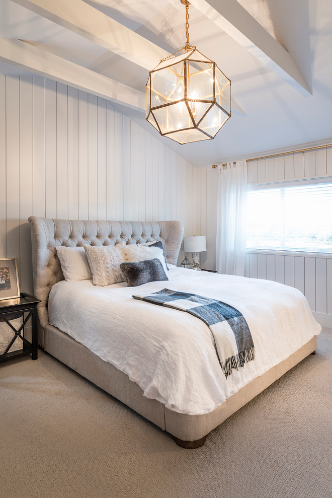Bedroom Vertical Shiplap Vertical shiplap is complemented by custom beams painted in Benjamin Moore CC-30 Bedroom Vertical Shiplap #Bedroom #VerticalShiplap #bedroomshiplap #masterbedroom