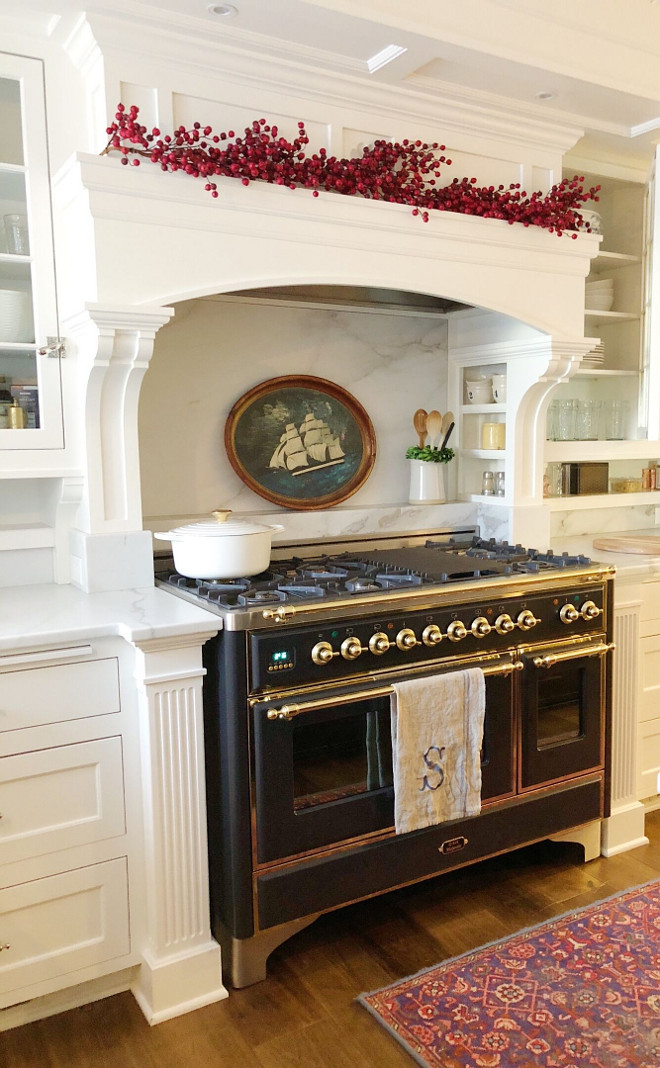 Christmas Kitchen Mantel Decor These faux berries are the easiest and perfect way to bring Christmas into the kitchen. Stove is Ilve, runner and clipper ship tray are antiques