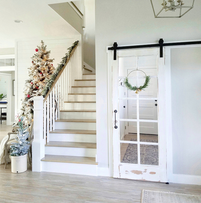 Farmhouse Christmas with barn door