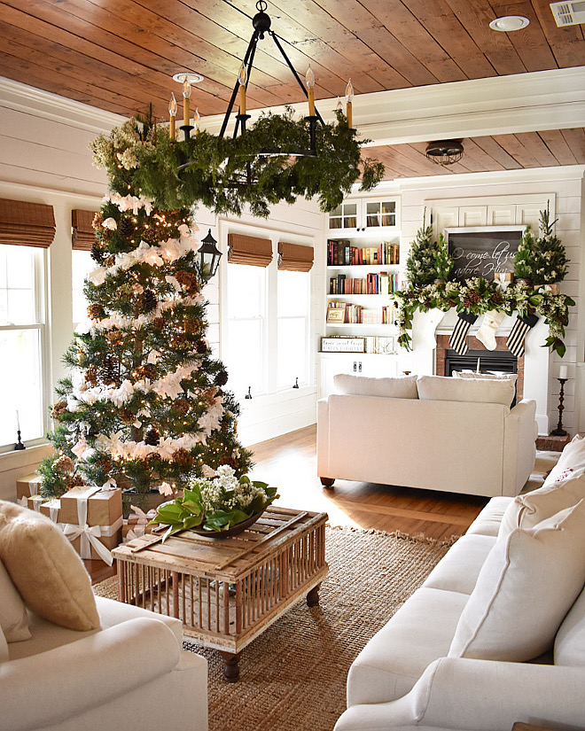 Neutral Christmas decorating ideas with lots of whites and natural Christmas greenery #NeutralChristmasdecoratingideas #NeutralChristmasdecor