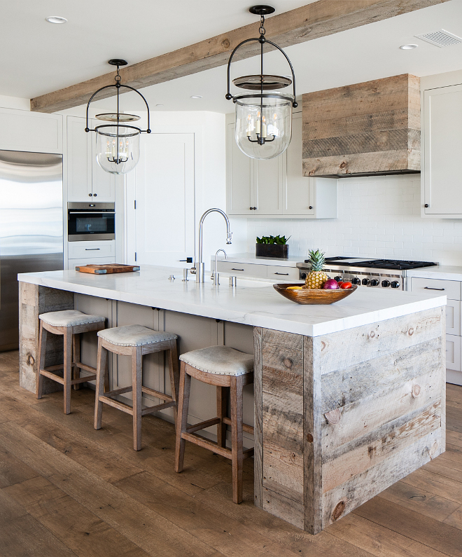 Reclaimed Plank Shiplap kitchen island Reclaimed Plank Shiplap kitchen hood The kitchen combines White Oak vertical grain, paint grade oak and Natural aged reclaimed wood with Shaker-style doors and drawer fronts #ReclaimedPlankShiplap #kitchen #Reclaimedwood #reclaimedshiplap #Plank #Shiplap #kitchenhood