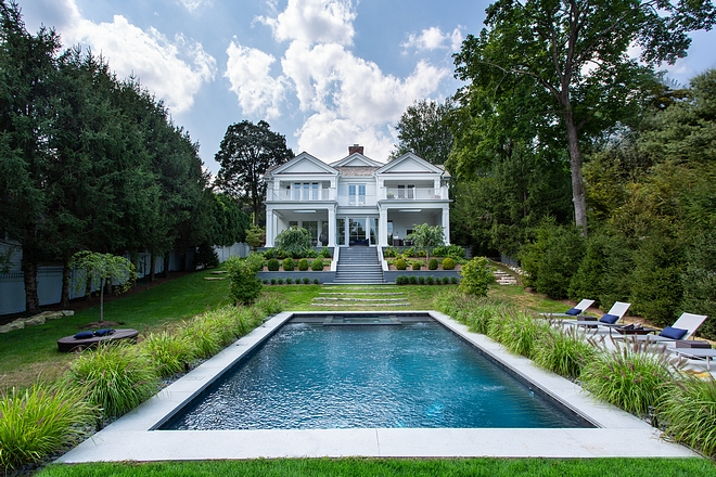 Pool A pool with crisp lines complement this classic Greenwich home #pool