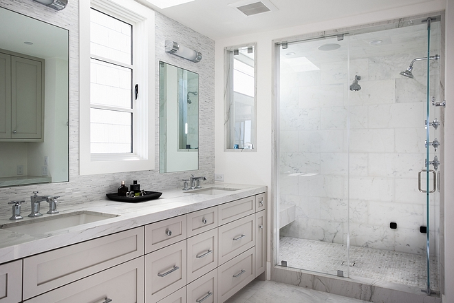 Bathroom Cabinetry Paint grade, shaker style Cabinet Paint color is Simply White by Benjamin Moore #SimplyWhiteBenjaminMoore