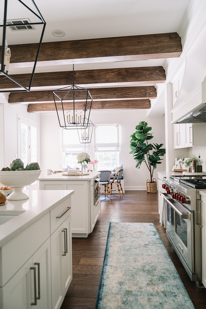 Kitchen Ceiling Treatment Beams were added to give more character to the kitchen area Kitchen Ceiling Treatment Beams Kitchen Ceiling Treatment Beam Ideas Kitchen Ceiling Treatment Beams #KitchenCeiling #ceilingTreatment #Beams