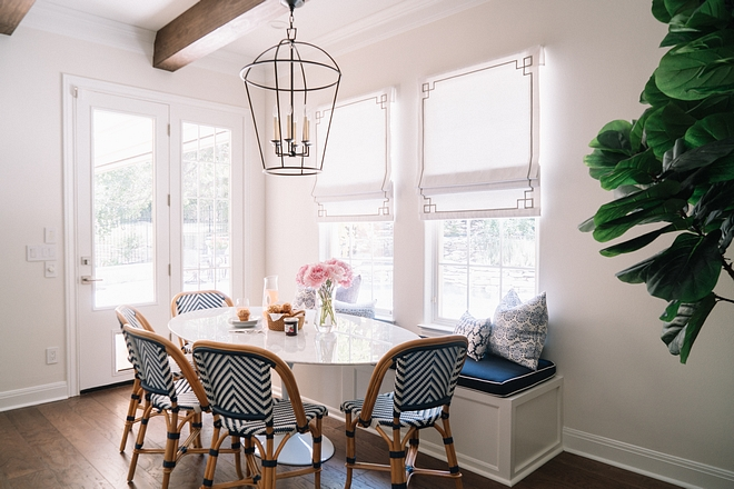 Breakfast room Banquette is custom and it features a Sunbrella fabric Breakfast room Banquette ideas Breakfast room Banquette cushion fabric Breakfast room Banquette #BreakfastroomBanquette #Breakfastroom #Banquette