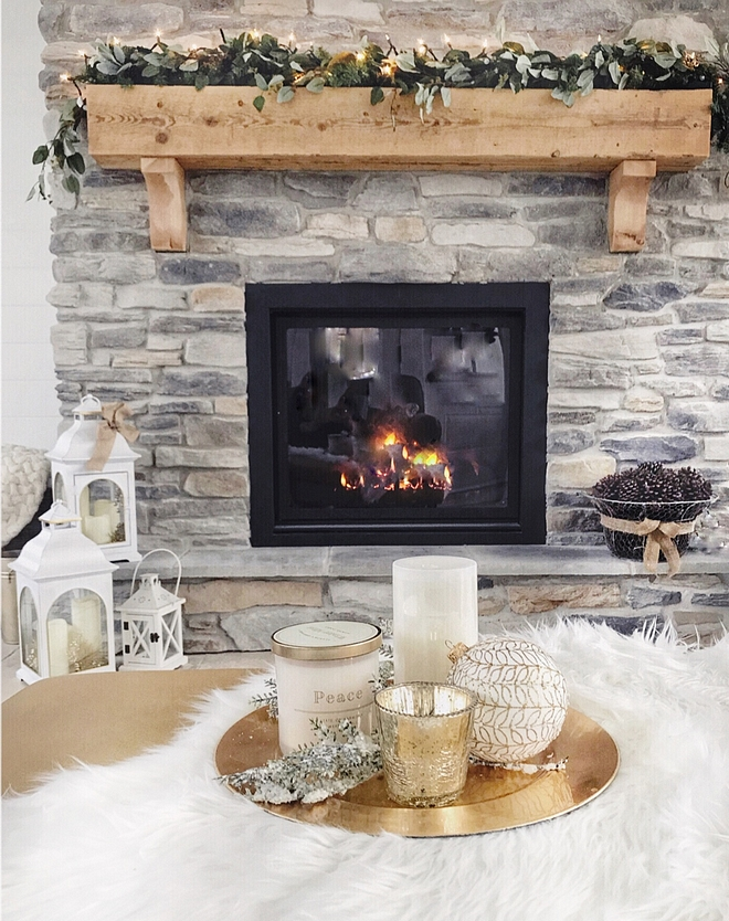 Chunky mantel with Christmas decor