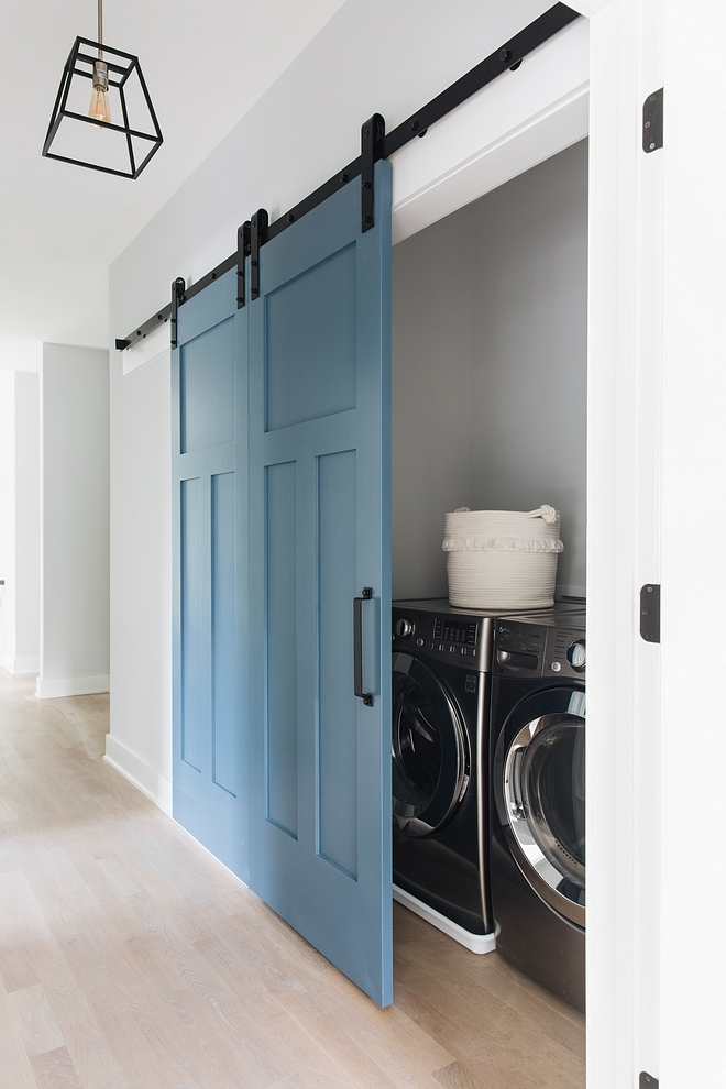 Benjamin Moore 838 Denim Wash Laundry room blue barn door paint color Benjamin Moore 838 Denim Wash Benjamin Moore 838 Denim Wash #blubarndoor #laundryroombarndoor #barndoor #barndoorpaintcolor #bluepaintcolor #BenjaminMoore838DenimWash #BenjaminMoore