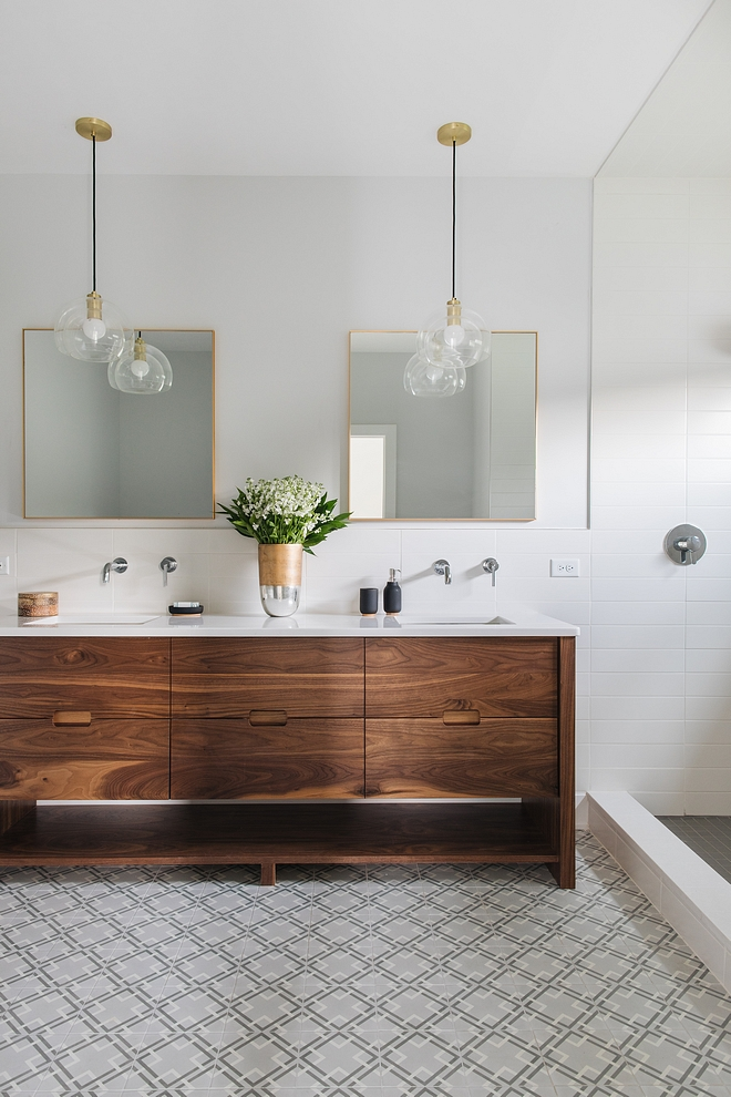 Walnut bathroom vanity Modern bathroom with mid-century inspired Walnut bathroom vanity Walnut bathroom vanity #Walnutbathroomvanity #Walnutvanity #bathroomvanity