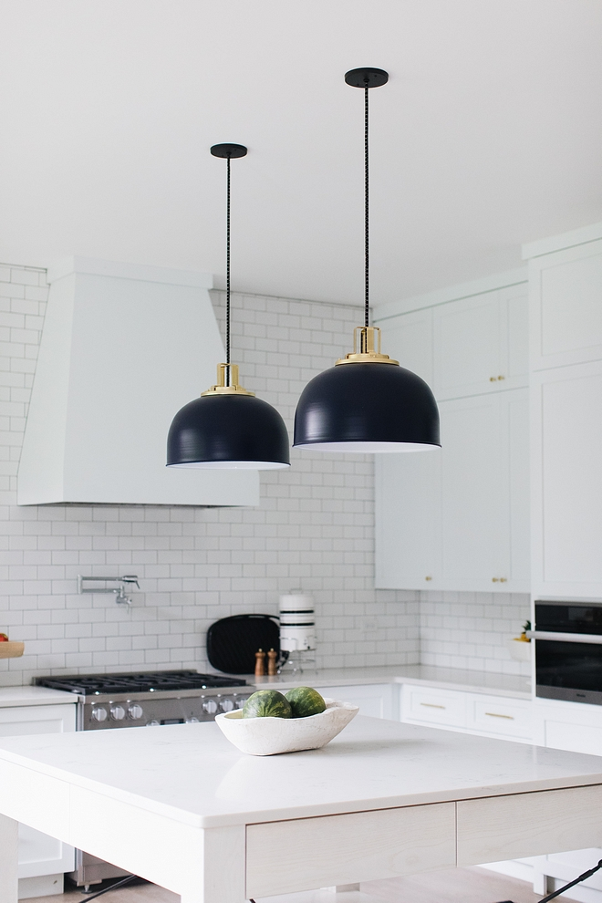Dome Pendant Black Dome Pendant White kitchen with Black Dome Pendant #DomePendant #blackDomePendant