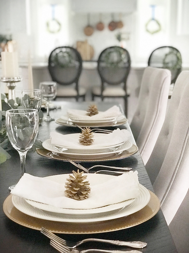My dining tablescape decor will likely change a few times before we actually enjoy Christmas brunch and dinner around it. I'll add a long fresh flower centrepiece and add silver or gold candles (or both) and keep it simple and elegant