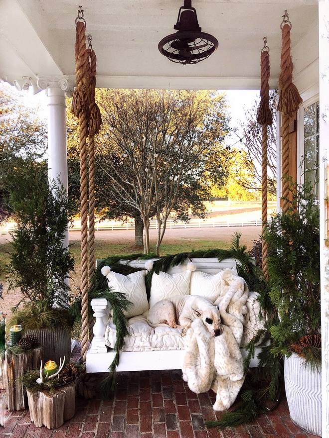 Christmas Porch Swing Decor Christmas Porch Swing Decorating Ideas Christmas Porch Swing Decor Natural Christmas decor on Porch Swing #ChristmasPorchSwingDecor #Christmasdecor #PorchSwing #PorchDecor #Christmasporch