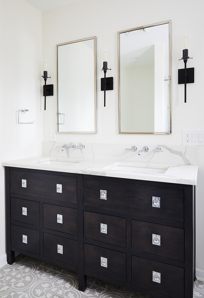 White bathroom with dark stained wood cabinet White bathroom with dark stained wood cabinet ideas Vanity is custom-made and countertop is Quartz, Calacatta #whitebathroom #bathroomcabinet