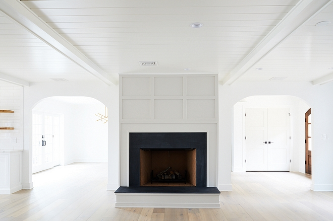 Grid Board and Batten Fireplace Grid Board and Batten Fireplace with tongue and groove and beams ceiling Grid Board and Batten Fireplace Ideas Grid Board and Batten Fireplace Design #GridBoardandbattenFireplace