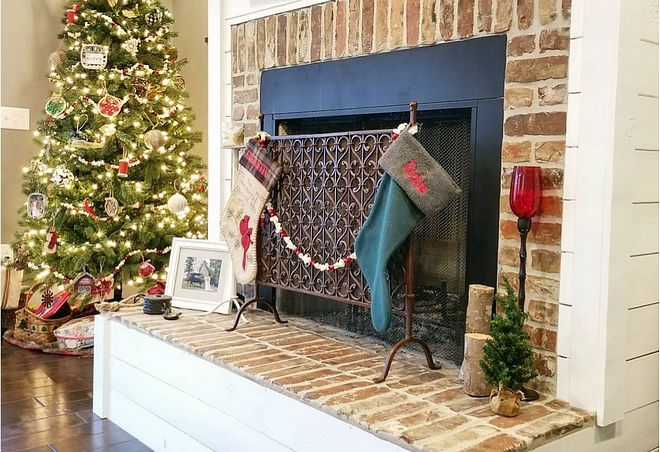 Brick Fireplace Real Brick Fireplace surround with shiplap Brick Fireplace Real Brick Fireplace Brick Fireplace Real Brick Fireplace #BrickFireplace #RealBrick #Fireplace