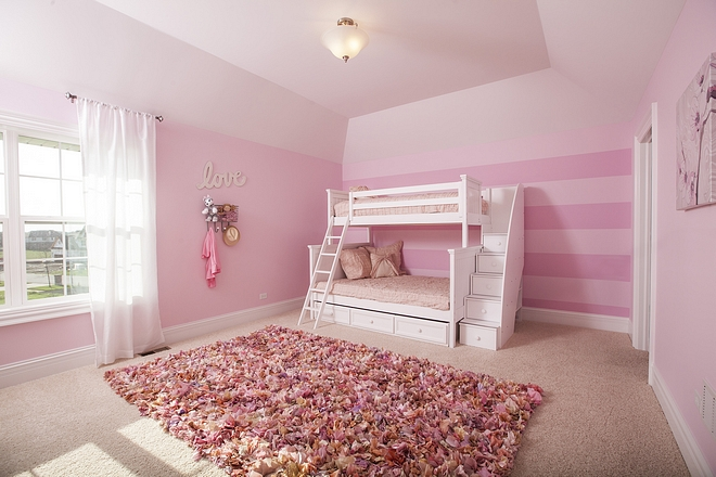 Pink Striped Bedroom Paint Color Sherwin Williams Lighthearted Pink, Striped wall with Sherwin Williams Lighthearted pink and Sherwin Williams Childlike