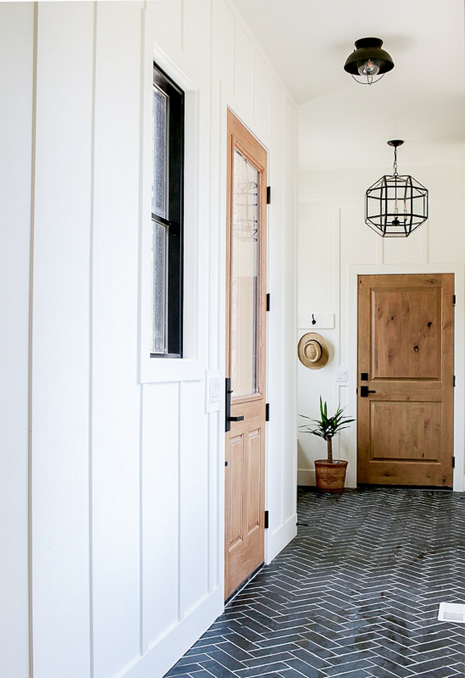 Mudroom Natural Slate Tile Herringbone Pattern Mudroom with Mudroom Natural Slate Tile Herringbone Pattern and board and batten wall paneling Mudroom Natural Slate Tile Herringbone Pattern #Mudroom #NaturalSlateTile #Herringbonetile #mudroomtile #boardandbatten