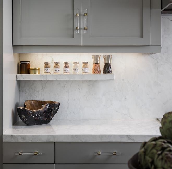 White marble slab backsplash with floating marble shelf White marble is Crema Delicato honed marble slab #whitemarble #slabbacksplash #whitemarbleslabbacksplash