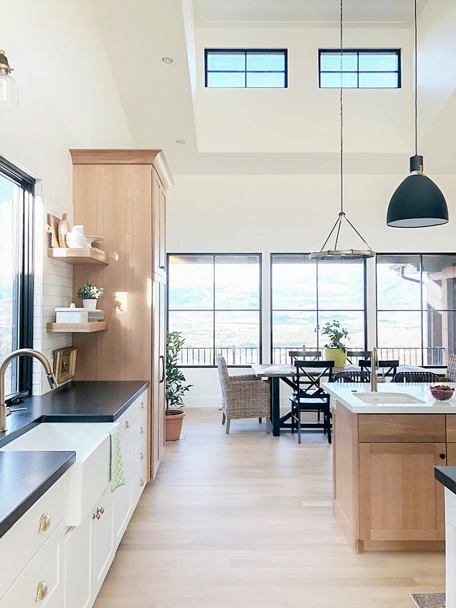 Modern Farmhouse Kitchen and Breakfast Room with black steel windows and white oak cabinetry Modern Farmhouse Kitchen and Breakfast Room #ModernFarmhouse #kitchen #ModernfarmhouseKitchen #BreakfastRoom #WhiteOakkitchen