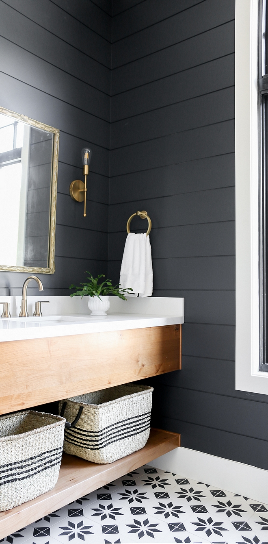 Benjamin Moore French Beret Shiplap Bathroom Shiplap Benjamin Moore French Beret #Shiplap #Bathroom #Shiplap #BenjaminMooreFrenchBeret #Paintcolor