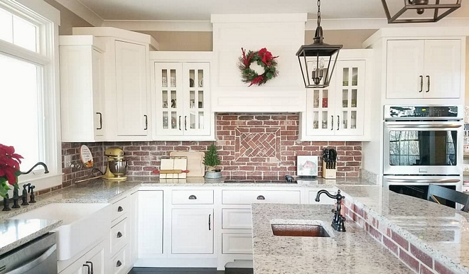 "Kitchen Christmas Ideas The kitchen is the only space in our home that can truly be slated as ""simple"" and practical when it comes to decorating for Christmas. I still add a few elements & pops of red to compliment the brick backsplash, but that's just about it Kitchen Christmas #KitchenChristmas #KitchenChristmasdecor"