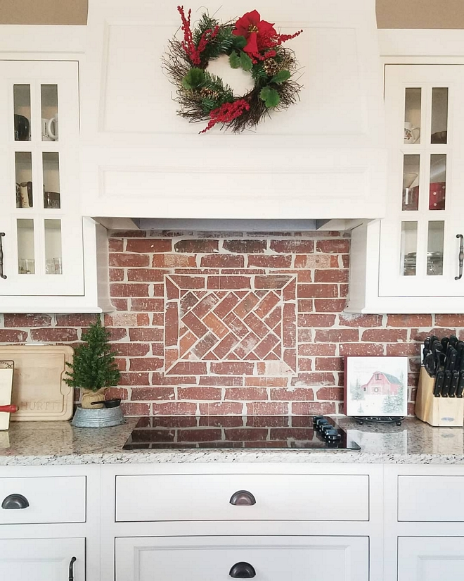 Brick Backsplash Backsplash is General Shale Old Louisville Tudor thin brick with a herringbone pattern above the range Brick Backsplash Herringone brick backsplsh Brick Backsplash Brick Backsplash #BrickBacksplash #Herringonebrick #Herringonebrickbacksplash