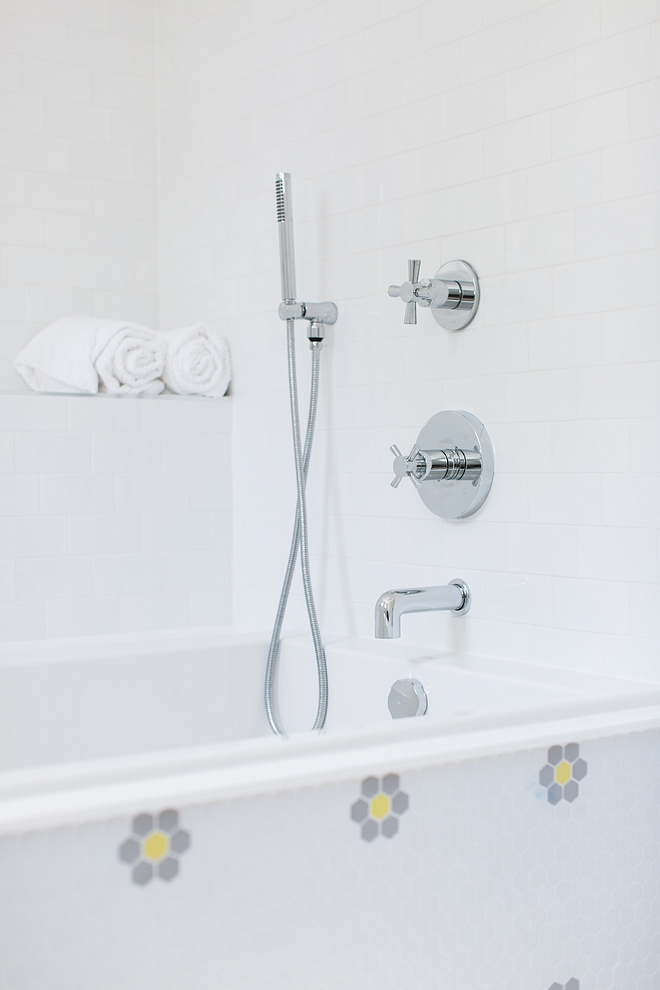 Kids bathroom Adding a lower hand shower to a bathtub is a great idea, especially if you have small children #kidsbathroom #bathroom #shower