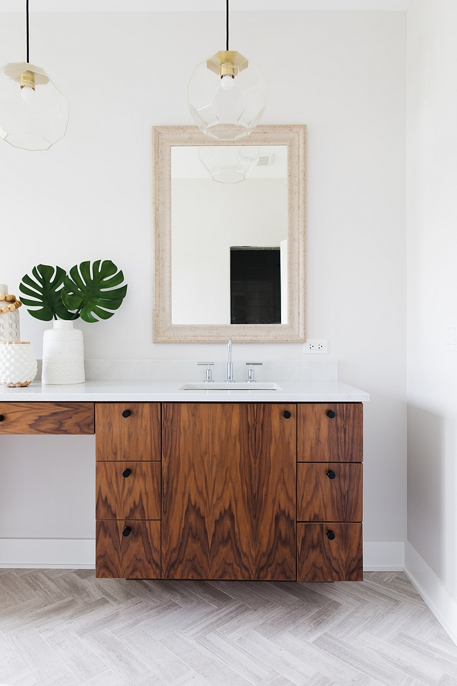 This gorgeous vanity is custom and it's made out of of clear Walnut #vanity #Walnut