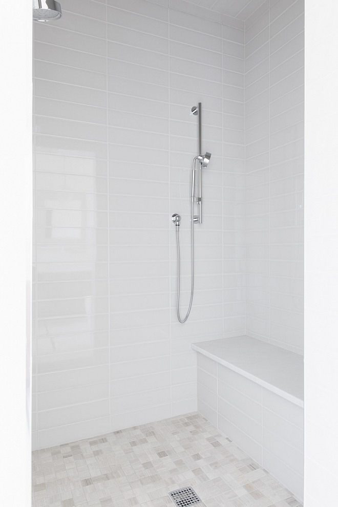 Shower tile 4x16 warm grey glossy tile #showertile #greytile #greyshower