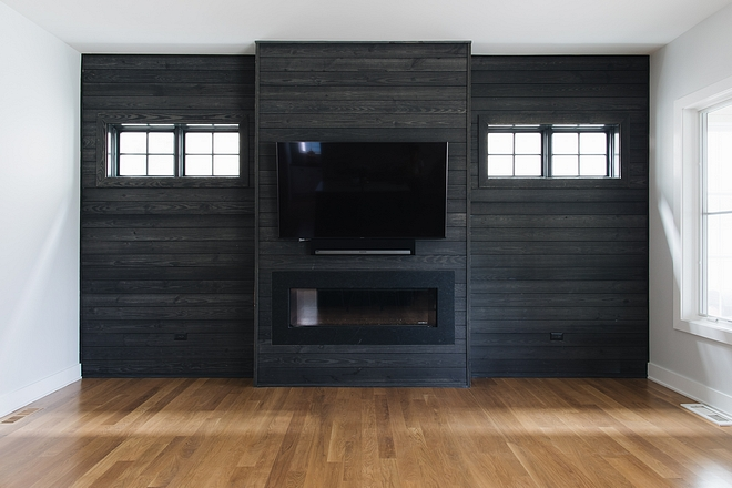 Pre-stained shiplap shiplap was purchased pre-stained Living room with accent shiplap wall shiplap fireplace Pre-stained shiplap #Prestainedshiplap #shiplap