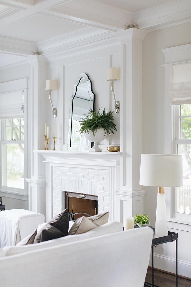 Benjamin Moore Decorator White Coffered ceiling Trim and Fireplace are painted in Benjamin Moore Decorator White Paint Color Benjamin Moore Decorator White Benjamin Moore Decorator White #BenjaminMooreDecoratorWhite