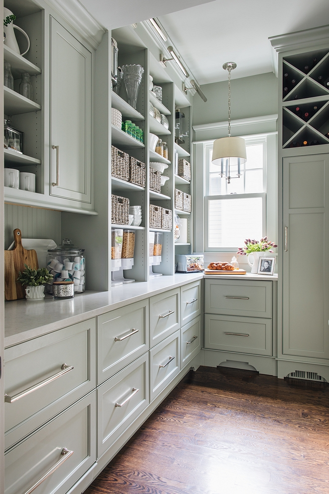Grey Cabinet Paint Color RH Silver Sage The scullery features floor-to-ceiling green/grey custom designed and crafted cabinetry Paint color is RH Silver Sage Grey Cabinet Paint Color RH Silver Sage Grey Cabinet Paint Color RH Silver Sage #GreyCabinetPaintColor #GreyCabinet #PaintColor #RHSilverSage