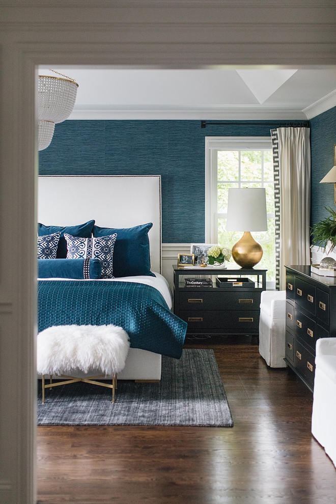Bedroom with faux grasscloth wallpaper wainscoting Bedroom with faux grasscloth wallpaper wainscoting ideas Bedroom with faux grasscloth wallpaper wainscoting #Bedroom #fauxgrasscloth #wallpaper #wainscoting