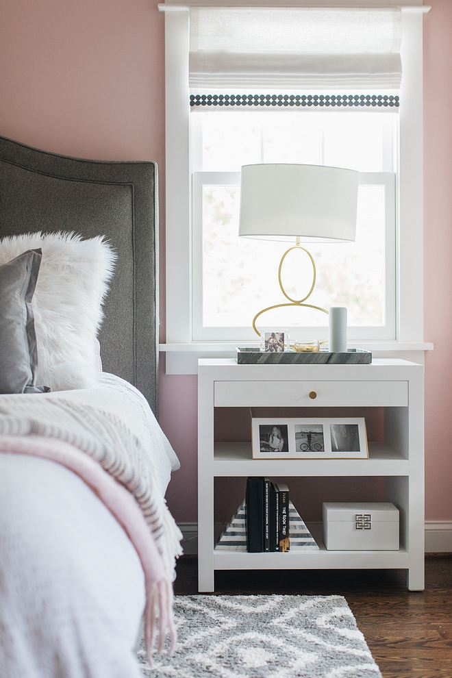 Nightstand Notice I used trays on each nightstand - I love that rather than a coaster. My whole family takes a cup a water to bed so having a large try surface is so much easier. I've also used cutting boards, especially marble ones; those work great on a nightstand #nightstand