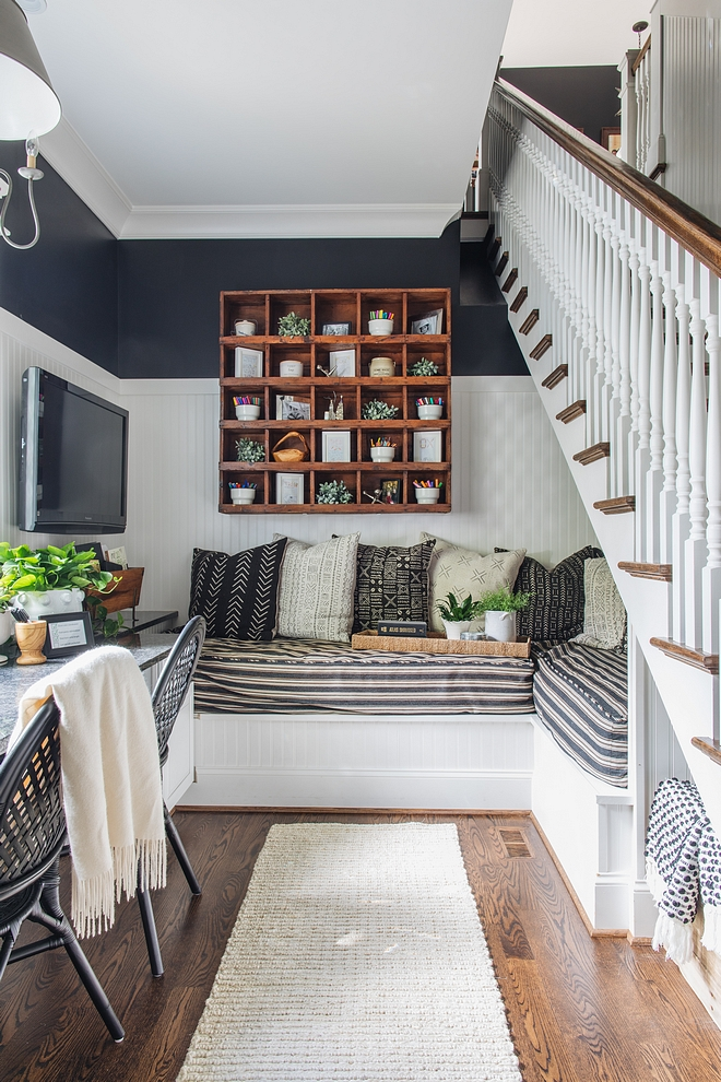 "Under stair ideas There are two twin beds that form an ""L"" under the stairs that are the perfect little escape Great Under stair ideas #Understairideas"