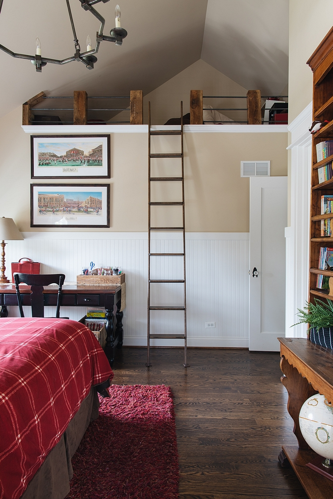 Loft Kids Bedroom Loft Ideas For my son's loft I wanted a more rustic feel. I bought reclaimed timbers that were cut and secured and then we used left over rebar from the concrete process of our house to create the railing. It was inexpensive, easy, and incredibly sturdy #Loft #bedroomloft #KidsBedroom #kidsbedroomLoft