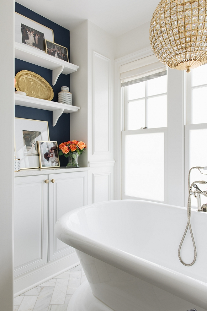 Freestanding tub storage ideas The bath nook also features custom cabinetry with open shelves for storage Freestanding tub storage Bathroom Freestanding tub storage Freestanding tub storage Freestanding tub storage #Freestandingtub #storage #bathroomstorage