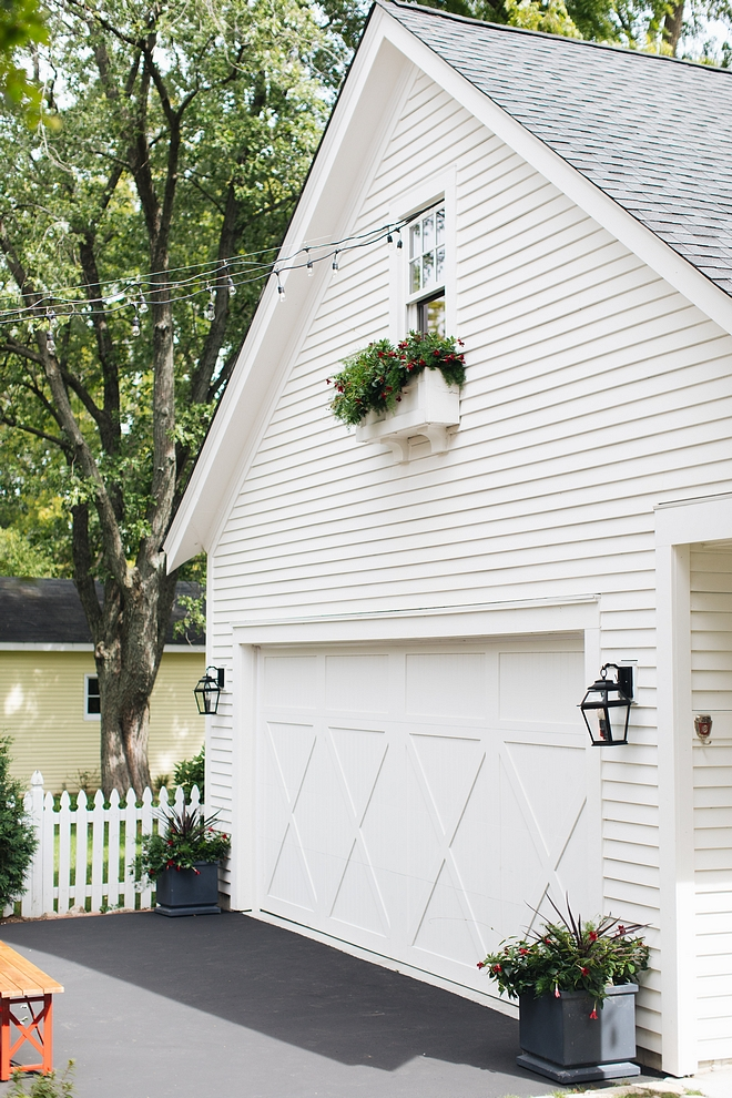 Benjamin Moore White Dove siding House and detached garage are painted Benjamin Moore White Dove #BenjaminMooreWhiteDove