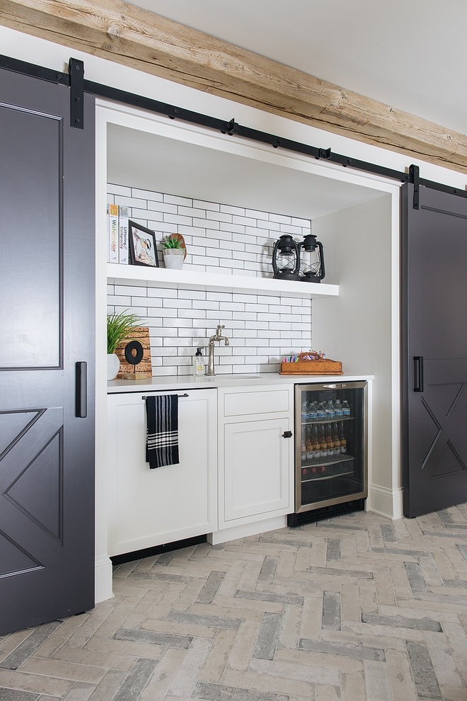 Wet Bar Snack Bar Barn doors conceal a Snack Bar in the basement Wet Bar Snack Bar #SnackBar #wetbar #bar #basement