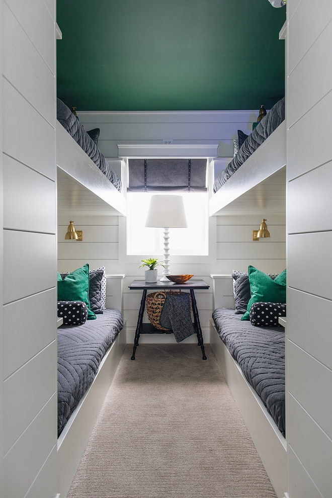 Bunk room with custom bunk beds shiplap and ceiling painted in Benjamin Moore emerald #bunkroom #bunkbeds #shiplap #bunkroomshiplap #custombunkbeds