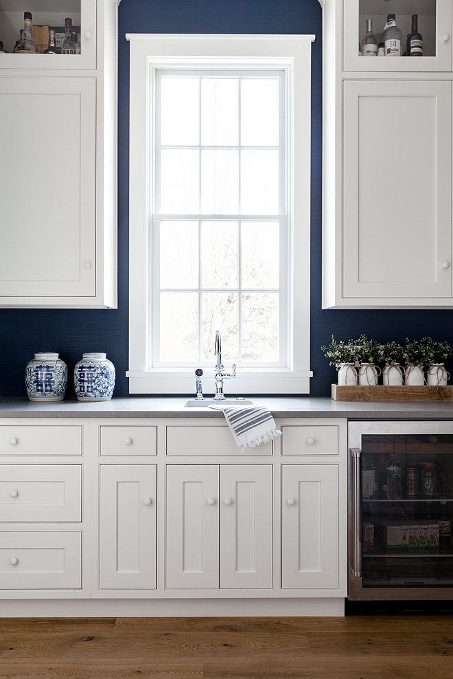 Benjamin Moore White Dove Cabinetry is White Dove by Benjamin Moore painted Shaker inset cabinets with painted wood mushroom knobs #benjamimoorewhitedove #WhiteDovebyBenjaminMoore #paintedcabinet #Shakerinsetcabinet