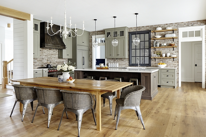 Kitchen Hardwood flooring All wood flooring is wide plank quarter and Rift Sawn White Oak natural finish, matte sheen Kitchen hardwood flooring #Kitchenhardwoodflooring #hardwoodflooring