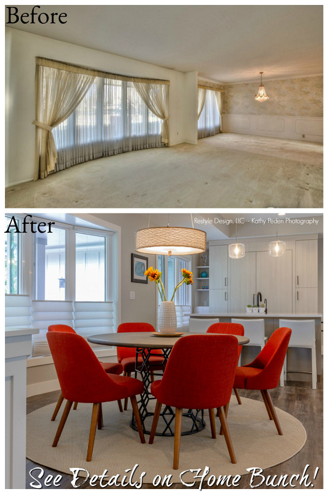 Before and after dining room and kitchen renovation pictures The new kitchen and dining room is located where the former living room and dining room used to be. Notice the bay windows. The windows were changed but they were placed in the same spot #Beforeandafter #diningroom #kitchen